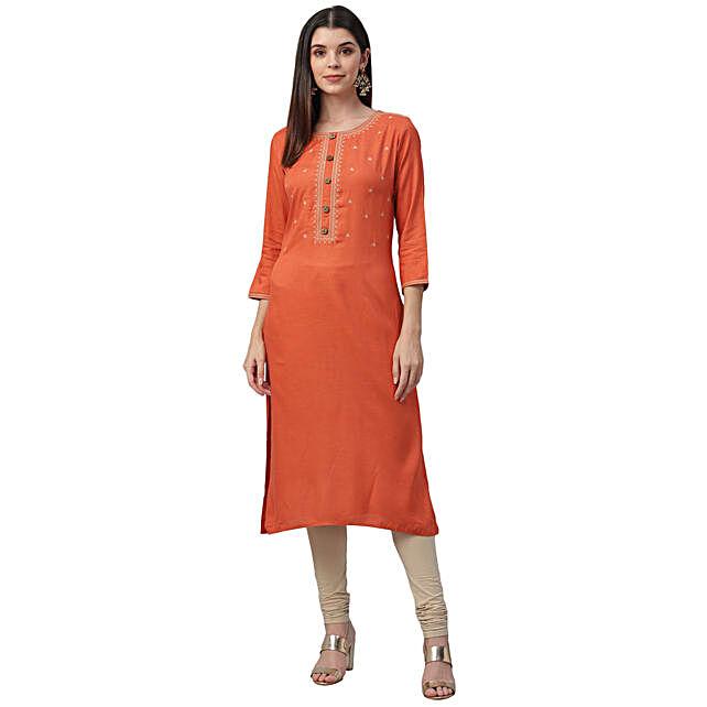 Nesara Embroidered Orange Cotton Slub Kurta