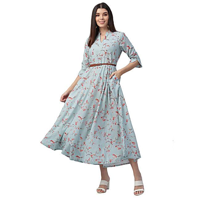 Nesara Rayon Printed Blue Dress