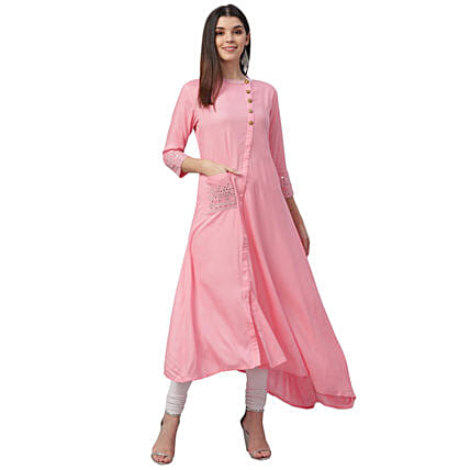 Nesara Sequin Embroidered Pink Rayon Dress