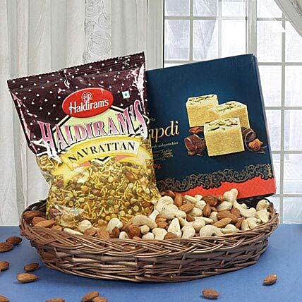 Gift hamper of sweets, mixture and dry fruits