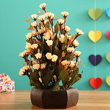Off White Mini Bud Arrangement:Artificial Flowers