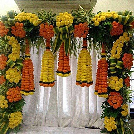 Orange and Yellow Floral Bottle Shape Decoration