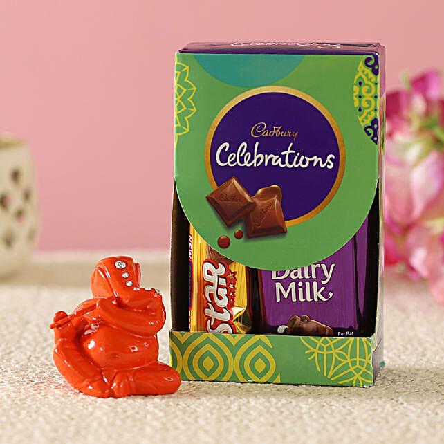 Orange Flute Ganesha Idol & Cadbury Combo:Buy Best Diwali Gift For Girlfriend