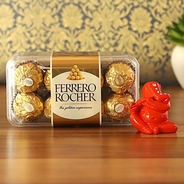 Orange Flute Ganesha Idol & Ferrero Rocher Combo:Send Diwali Gifts for Boss