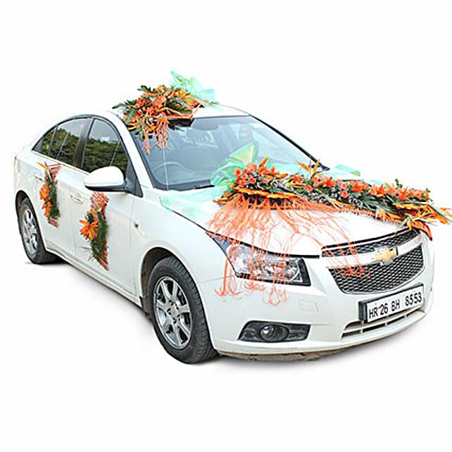 Orange fresh flower car decoration:Car Decoration