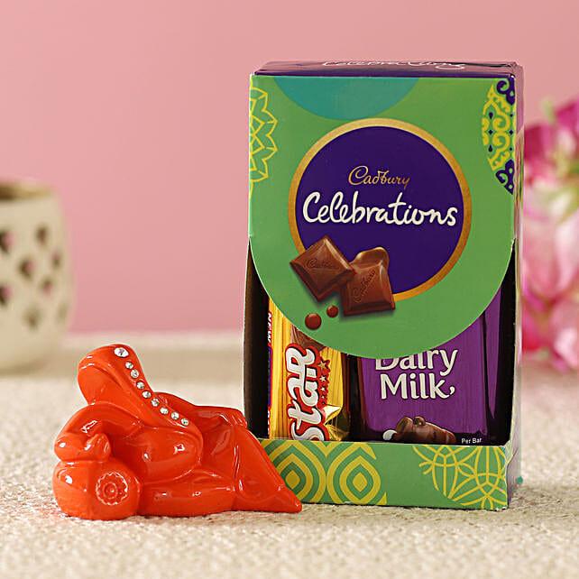 Orange Resting Ganesha Idol & Cadbury Combo:Send Diwali Gifts for Boss