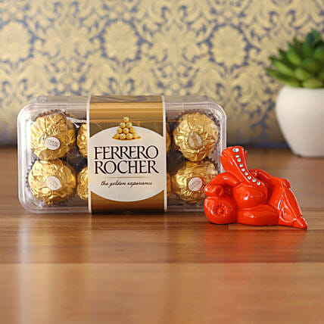 Orange Resting Ganesha Idol & Ferrero Rocher Combo