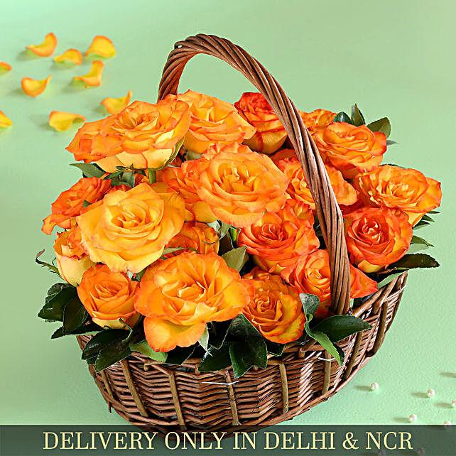 Orange Roses In Handle Basket