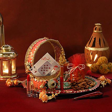 Orange Velvet Thali Shringar Set