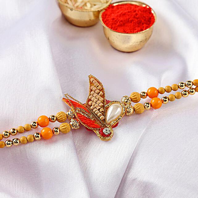 Orange Zardozi Design Rakhi