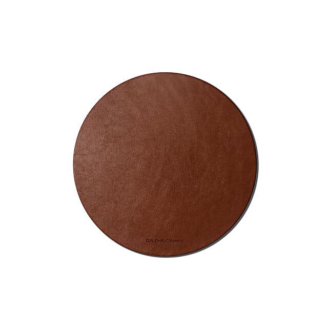 Orb Vegan Leather Mouse Pad Tan