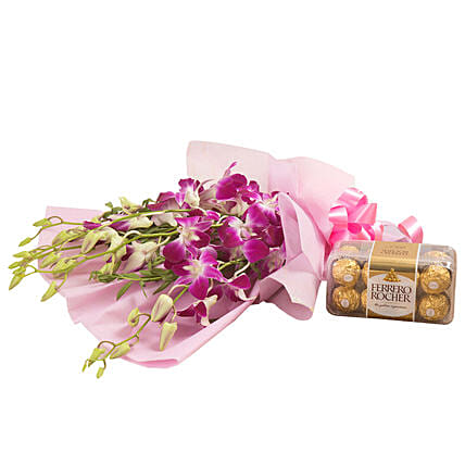 Orchids N Chocolates - Bunch of 6 Purple Orchids and 200gm Ferrero Rocher.