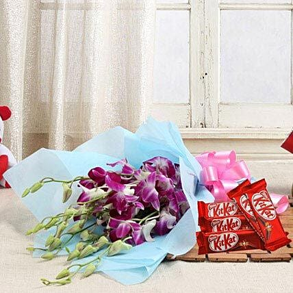Orchids with Chocolates - Bunch of 6 Purple Orchids and 5 Nestle Kit Kat Chocolate.