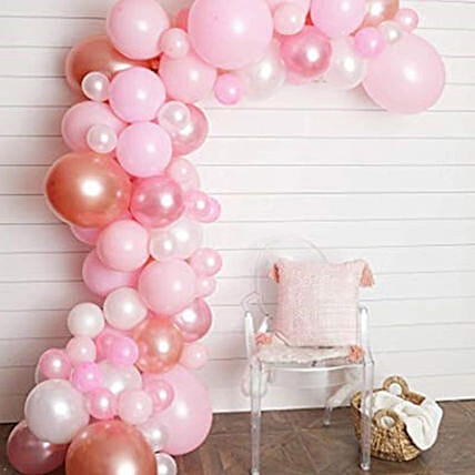 Organic Balloon Arch Pink Coloured