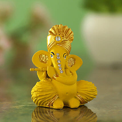 online Pagdi Wale Ganesha Ji Idol With Flute - Matte Yellow:Send Diwali Gifts for Him