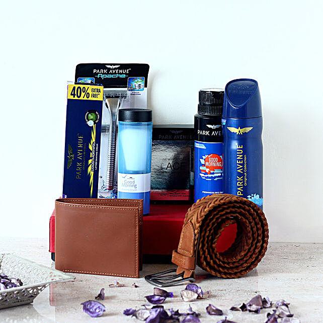 Brown Belt Wallet With Men Grooming Set