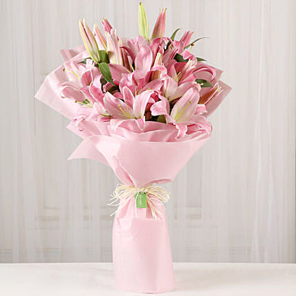 Beautiful Pink Lilies Bouquet Online