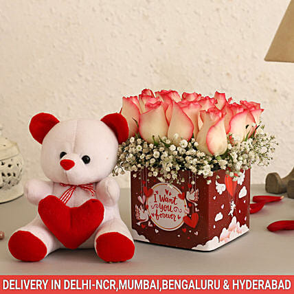 Online Pastel Roses And Cute Teddy
