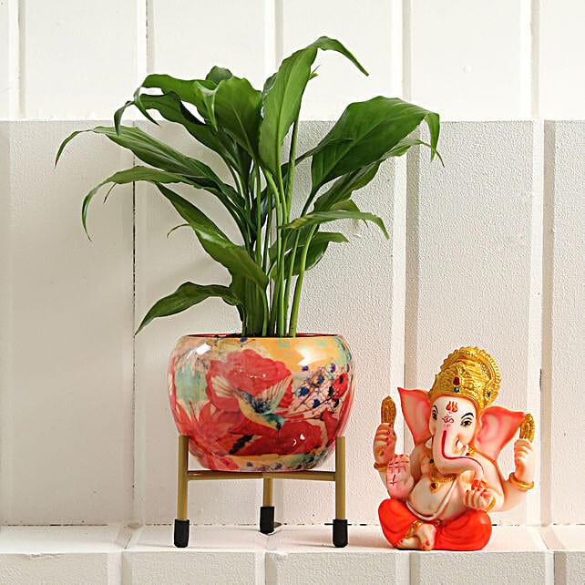 Peace Lily Plant Ganesha Idol