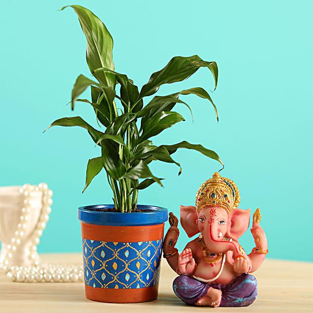 Peace Lily Plant & Ganesha Idol Combo:Send Diwali Gifts For Girlfriend