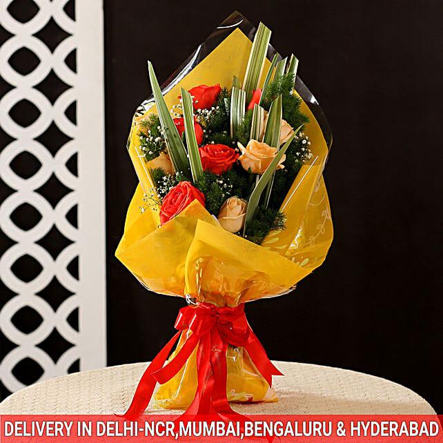 lovely peach n orange roses bunch for birthday