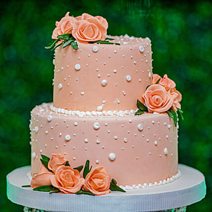 OnlinePeach Roses Truffle 2 Tier Cake:Wedding Cakes