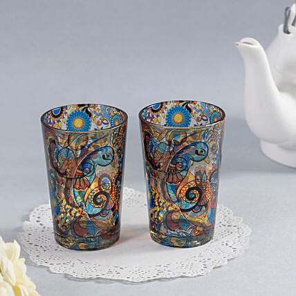 Online Peacock Admiration Chai Glass