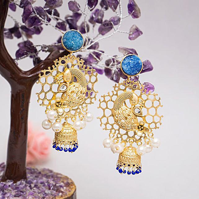 Peacock Shaped Jhumkas:Jewellery Gifts