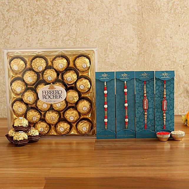 set of rakhis with chocolate combo