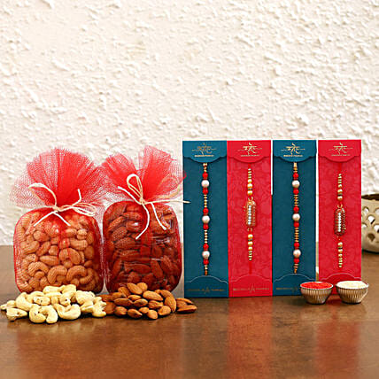 Online 4 rakhi set with dry fruits combo for him