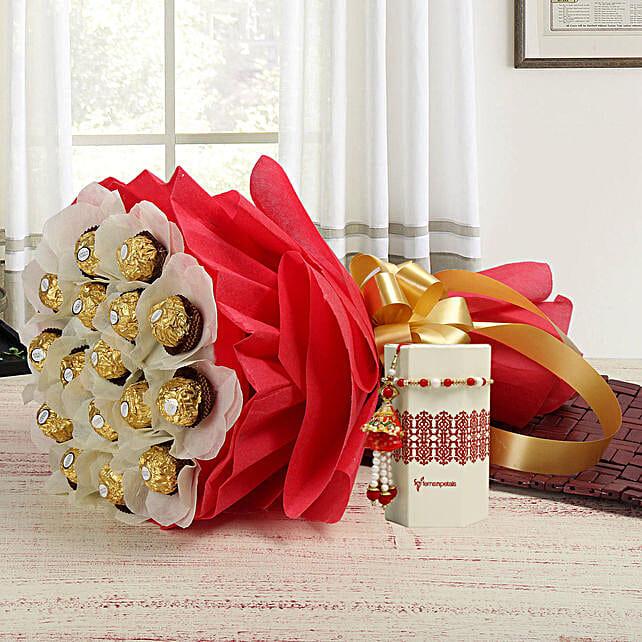 Pearl Lumba Rakhi With Ferrero Rocher Bouquet