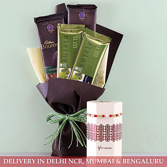 Online Cadbury And Pearl Rakhi:Rakhi With Cadbury Chocolates