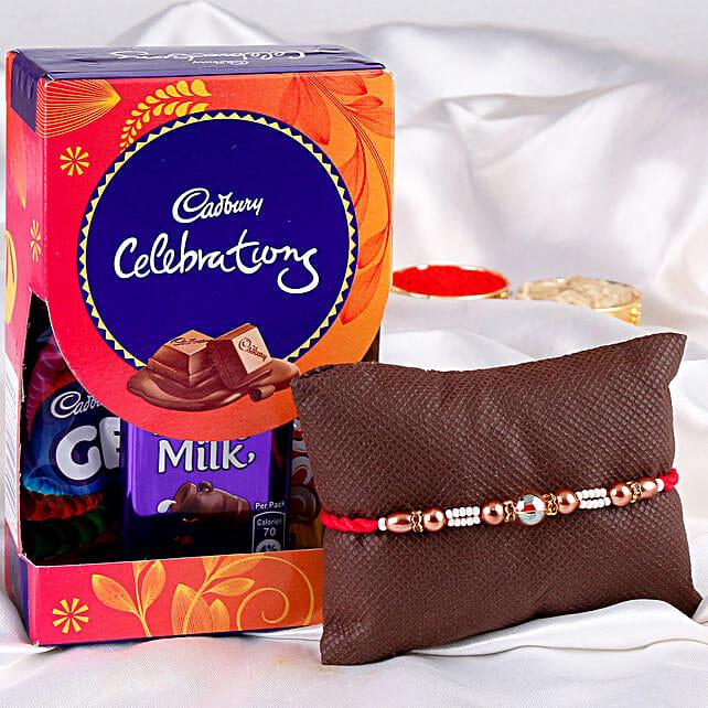 Pearl rakhi with cadbury chocolates online