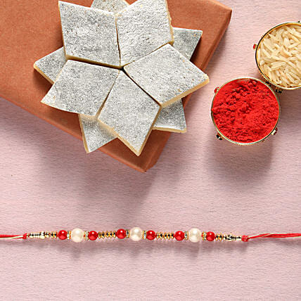 Pearl  rakhi and kaju katli box online:Rakhi with Sweets