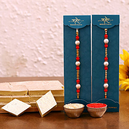 Buy pearl rakhi set with kaju katli box