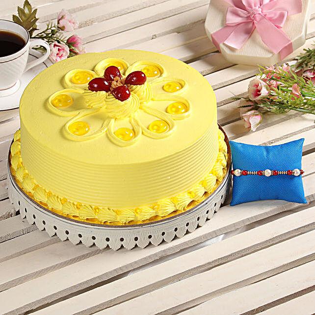 Butterscotch Cake & Rakhi Online:Order Rakhi with Cakes
