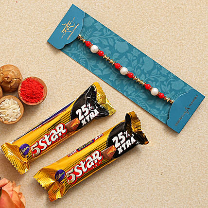 Pearl Rakhi With Five Star Combo
