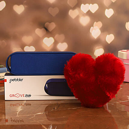 combo of Pebble Groove Bluetooth Speaker & Red Heart
