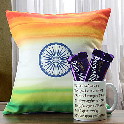 Patriotic themed cushion, mug and chocolates
