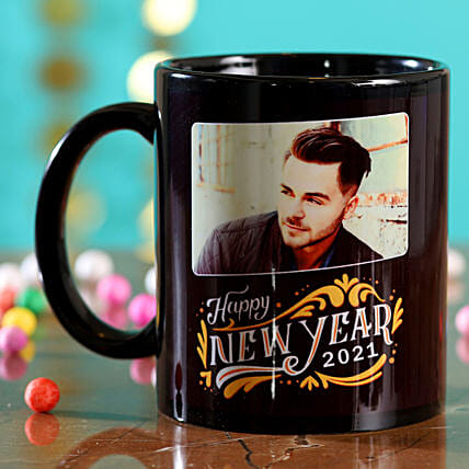 Online Personalised New Year Black Mug:Personalised Gifts for New Year