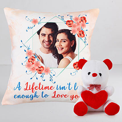 Personalised Anniversary Cushion n Teddy Combo:Personalised Gifts N Teddy Bears