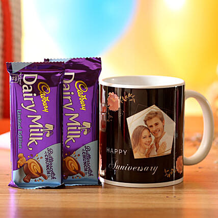 anniversary surprise mug with chocolate for her:Personalised Gifts N Chocolates