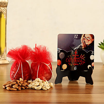 Personalised Bday Table Clock & Dry Fruits Potli