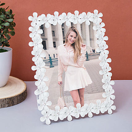 Personalised White Floral Photo Frame