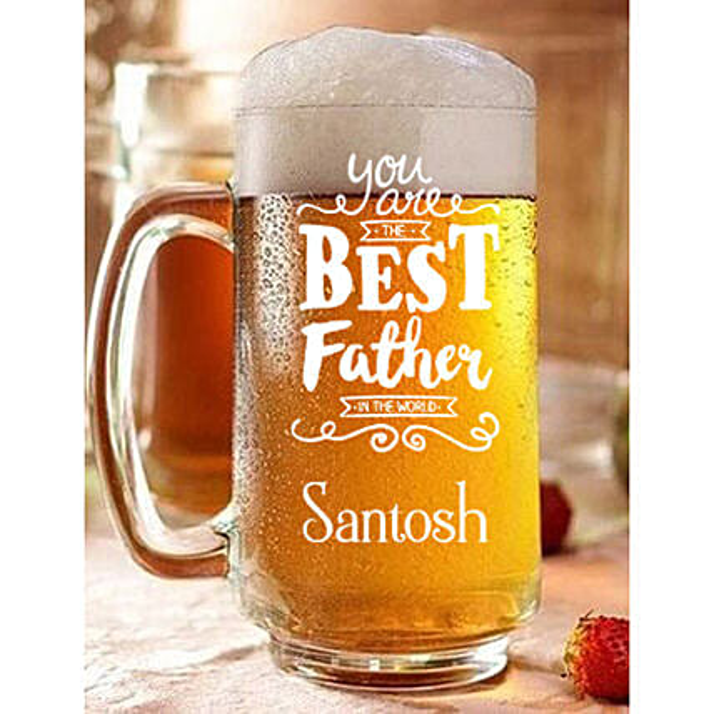 Personalised Best Father Beer Mug Online:Buy Personalised Beer Glasses