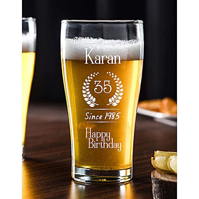 Personalised Birthday Beer Conical Mug Online:Buy Personalised Beer Glasses