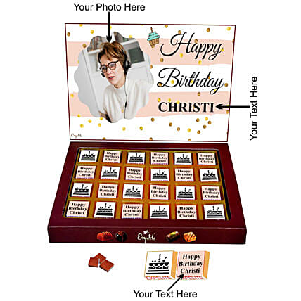 lovely personalised chocolate for her:Personalised Chocolates