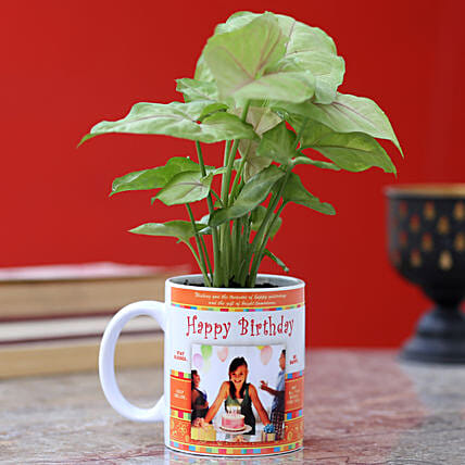 printed mug with syngonium plant for birthday