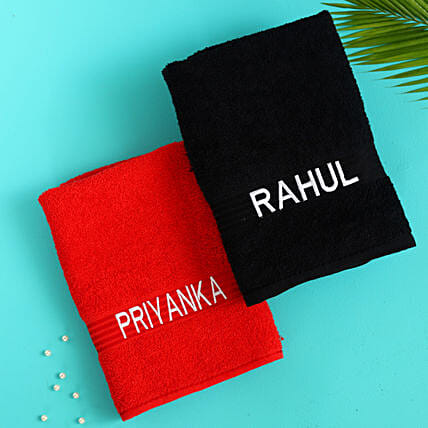 set of personalised cotton towel