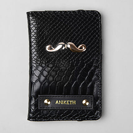 Personalised Black Croco Passport Cover:Personalised Accessories